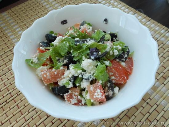 творог с томатами, оливками и зеленью