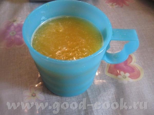Пока варится курага, выжимаем сок из 3 небольших апельсинов Сока нужно примерно 200 мл ( у меня нем... - 3