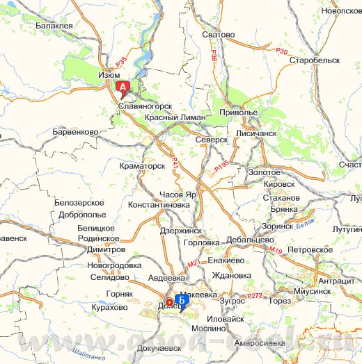 Можешь на карте посмотреть город Славяногорск
