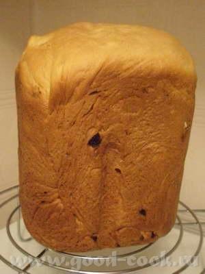 Испекла вчера Сметанный хлебушек с курагой с хлебопечке
