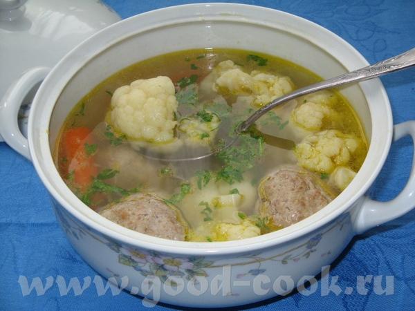 Суп диетический 2 в 1 из цветной капусты с тефтельками