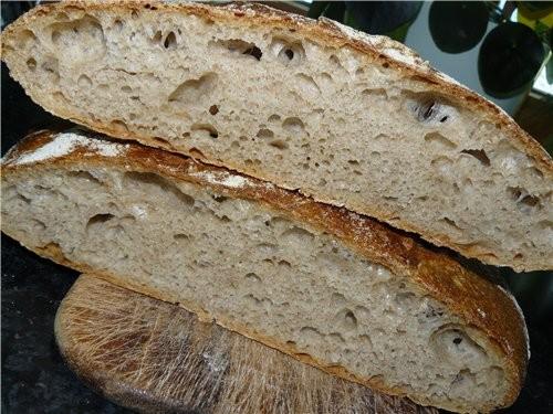 Вкусный хлеб с крупнопористым мякишем, хрустящей корочкой(пока тёплый)