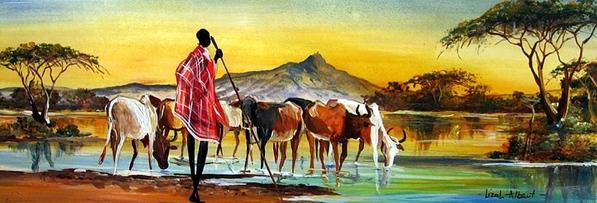 Вчера показали Африку Moder Art Decor, севодня- xудожники из Африки и то как они рисуют Африку Al A... - 3