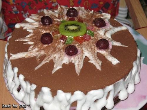 """Муссовый торт """"Смородинка"""" Бисквит: 2 яйца 2/3 стакана муки 1/2 стакана молотых орехов 100 г растоп..."""