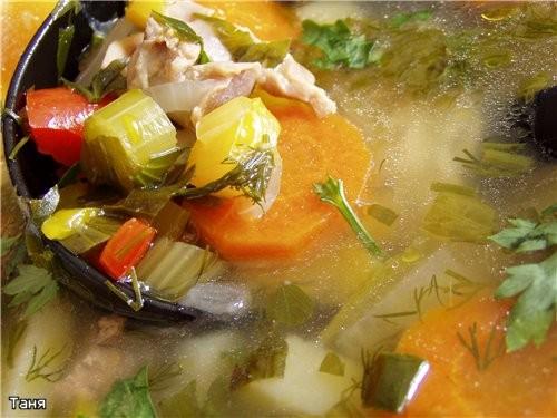 Суп с потрохами и овощами