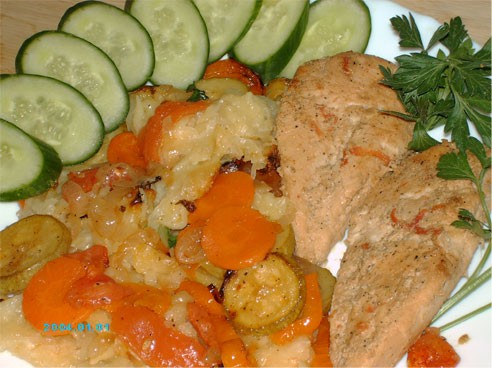 Наш обед сегодня - Овощной тарт от Ayn и Куриные грудки в маринаде для шауермы