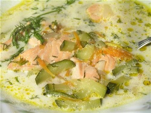Норвежский суп с семгой