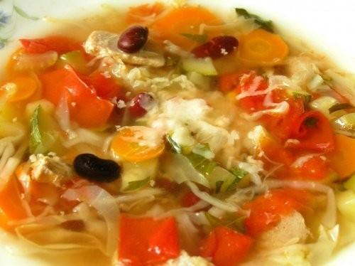 Южнотирольский куриный суп Пестрый суп с помидорами, фасолью, капустой и цуккини - 2