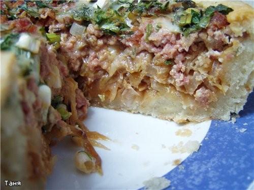 Открытый пирог с мясом и капустой - 2