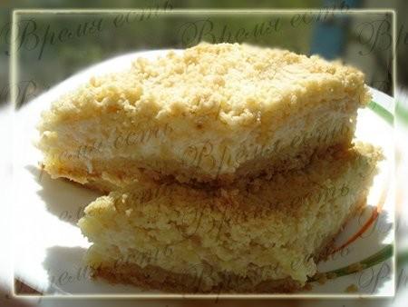 Пирог яблочно-творожный с крошкой