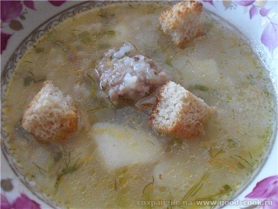 Рисовый суп с фрикадельками - мясного бульона 2 л