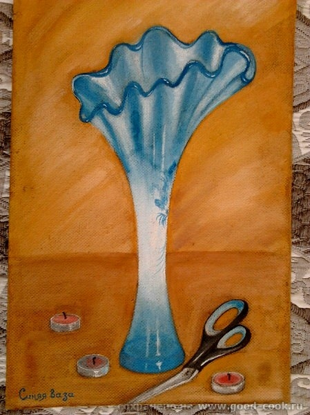 синяя ваза.двп.гуашь