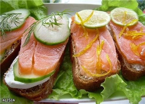 Бутерброды с Лососем Mалосольным в Aпельсиновом Cоке