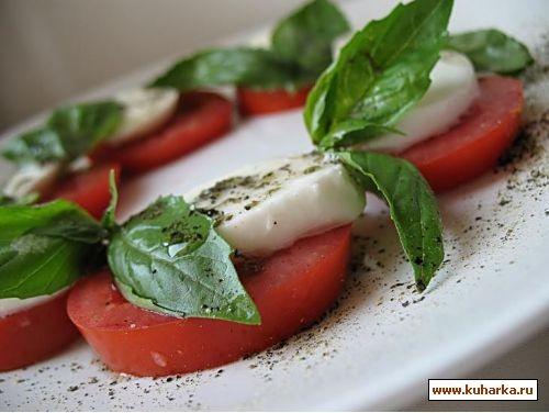 INSALATA CAPRESE сыр Моцарелла -обязательно в рассоле,листья свежего и сухого базилика помидоры оли... - 2