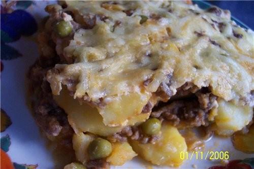 Картофельная лазанья: фарш (у меня был говяжий) - 1 кг