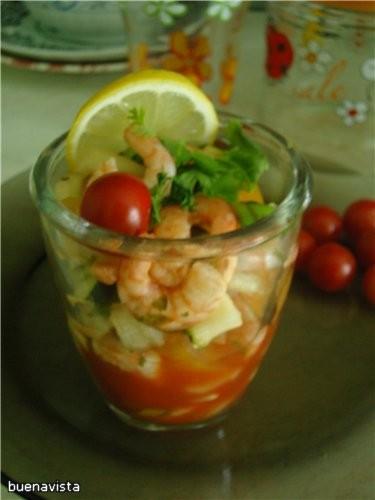 Креветочный салат-гаспачо 200 г приготовленных, очищенных креветок 1 сладкий перец, 1 помидор (без... - 2