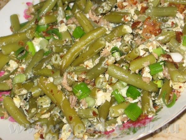 Теплый салат из зеленой фасоли и тунца зеленая фасоль - 300 гр тунец - 1 баночка 2-3 яйца 3 веточки... - 2