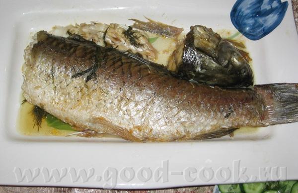 Амур запеченый в духовке с зеленью и чесноком под майонезно-горчичной корочкой (Забыла украсить рыб... - 3