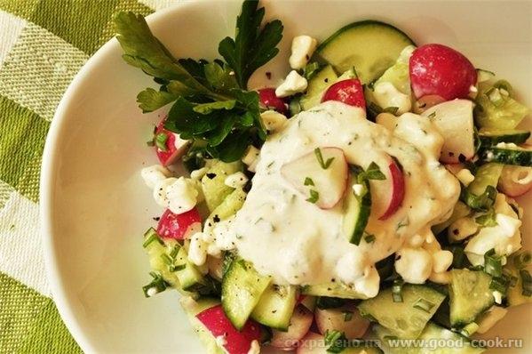 Салат из огурцов и редиса с зерненым творогом 3-4 огурца пучок редиса пучок свежего чеснока (с ботвой) 1 баночка зерне...