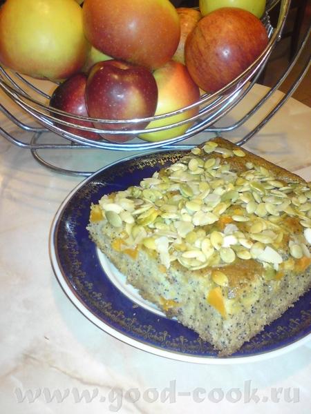 """Пирог """"Золотая тыква"""" Очень вкусный пирог, я только добавила на готовый пирог сваренные в меду семе..."""
