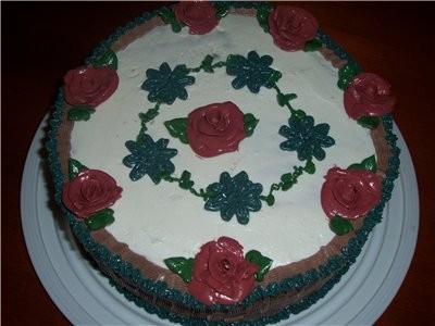 """девочки у всех очень красивые тортики а вот моё чудо,краски как всегда подвели ,это торт"""" воздушный..."""