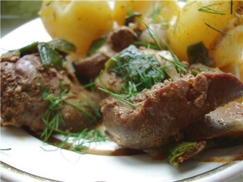 Печень с луком и паприкой + свежая картошечка 500 гр