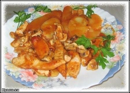 """Ломти индюшатины с грибами Из книги Шулы Модан """"Кухня Шулы"""" Я немного переделала рецепт, заменила т..."""
