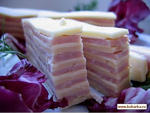 закуска полосатая (ветчина и сыр)