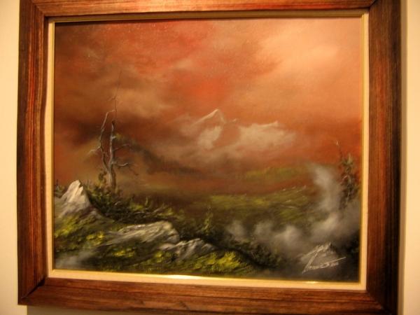 а это я ещё зашла на выставку нашего художника , я о нём уже писала , что он пишет акрилом строител...