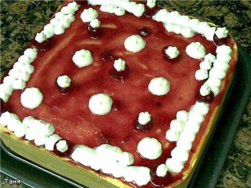 Творожно-вишневый торт-пай