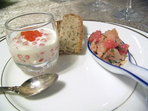 Закуска с креветками и крем -чизом Мусс из авокадо с крабом Закуска из мусса с лососем в сервировоч... - 7