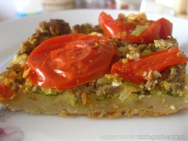 Запеканка из чёрствого хлеба с мясом, зеленью и овощами