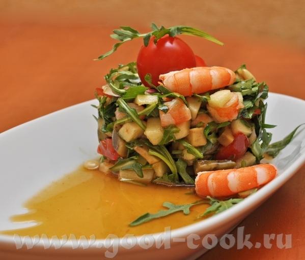 Салат из авокадо, руколы, яблока и креветок Идею салата взяла в журнале Светланы sarsmis