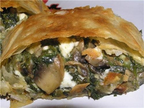 Открытый пирог с фасолью и фаршем Рулет из лаваша со шпинатом, брынзой и грибами - 3