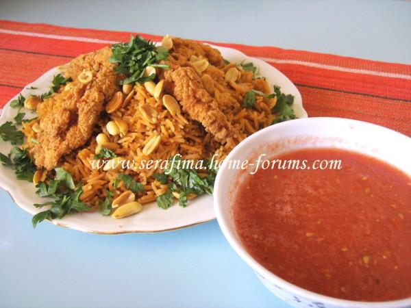 Кабсе (кабса) Красный прянный рис с курицей Арабская кухня