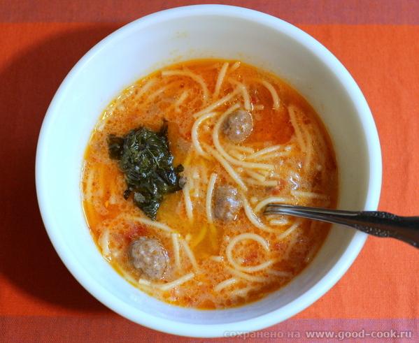 Суп турецкий, с фрикадельками, на двух соусах