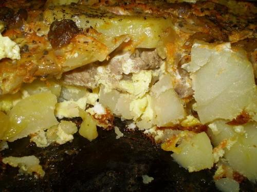Картошка с мясом и грибами 1 кг картошки 300-400 г мяса 200 г шампиньонов 4 яйца 1 небольшая морков... - 2