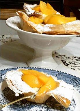 Глазированные персики с сыром рикотта в корзиночках из фило - belochka