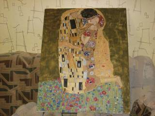 Девочки, помощь ваша нужна вот мой Климт, размер 100х80 холст, масло делаю его без всяких уроков, как могу, в данном сл...