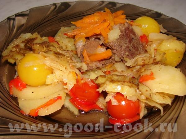 Вкуснятина от подружки Мясо - говядина, морковка, лук, чеснок, помидорки черри, картошка, капуста,... - 7
