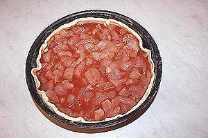 открытый пирог с курицей