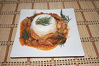 мясо тушёное с соусом 'Сацебели'