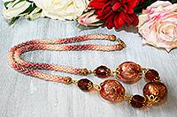 колье хрустальное розовато-коричневое с крупными бусинами (№ 36)